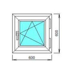 Окно ПВХ ОК-2 0.6х0.6 откидное